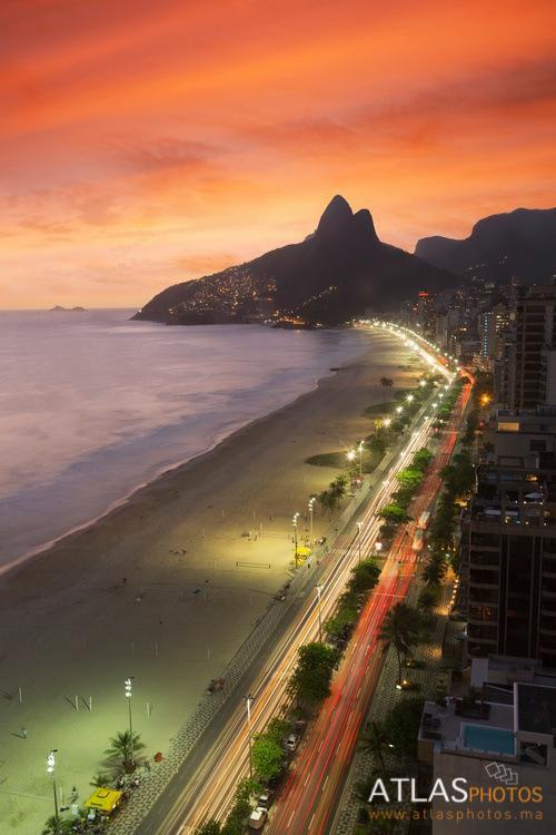View of Ipanema beach at night,  Rio De Janeiro, Brazil